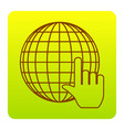 earth globe with cursor brown icon at vector image vector image