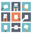 Hands holding piece of paper vector image vector image