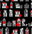 Ruined city seamless pattern Ruins of buildings vector image