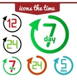 Icons set hour round arrow vector image