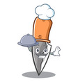 chef with food knife character cartoon style vector image