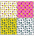 Fashion Hearts and Vinyl Seamless Pattern Set vector image