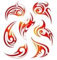 Fire flames design set vector image