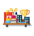 school tools on the shelf vector image