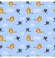 Seamless pattern with cat mouse and crow vector image