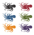 set of grunge octopus vector image