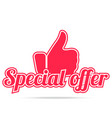 special offer label red color isolated on white vector image