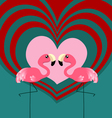 Couple flamingo love vector image