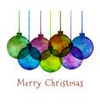 Group of Watercolor Hand Drawn Christmas Balls vector image