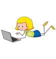 Little girl working on computer vector image vector image