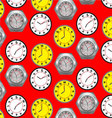 Seamless pattern clock vector image