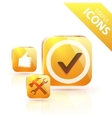glossy yellow orange metallic button vector image