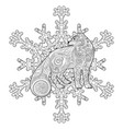 arctic fox in the zentangle style vector image