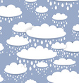 Seamless pattern with white clouds and raindrops vector image