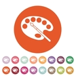 The palette and brush icon vector image
