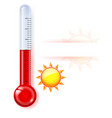 thermometer by seasons summer on white vector image