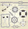 vintage seafaring elements - steering wheel oars vector image