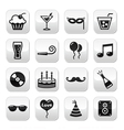 Party birthday New Year Christmas buttons set vector image