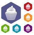 cupcake icons set hexagon vector image