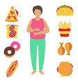 fat woman problem with excess weight due to wrong vector image