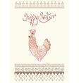 Easter egg card design with folk decoration vector image