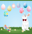 easter eggs hanging and bunny vector image