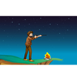 A boy with a gun at the cliff with a campfire vector image vector image