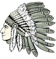 chief with indian headdress vector image vector image
