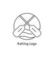 black thin line rafting logo vector image