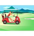 Woman driving a golf cart vector image