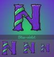 Halloween decorative alphabet - N letter vector image