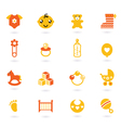 orange icons collection for baby vector image
