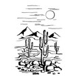 america with cacti and mountains vector image