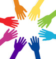 colorful hands forming shape teamwork vector image