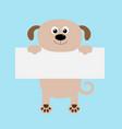 funny dog hanging on paper board templatebig eyes vector image