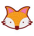 line color cute fox head wild animal vector image