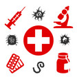medical icons with medical equipment vector image