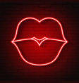 neon kiss lips vector image
