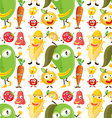 Seamless background with vegetables and fruits vector image