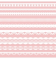 Set of white lace braid isolated on a pink vector image