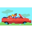 Family Car Traveling Flat Design Concept vector image