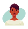 Young african man face surprised facial vector image