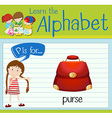 Flashcard alphabet P is for purse vector image