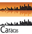 Caracas skyline in orange background vector image vector image