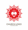 Crown of thorns cross and heart vector image