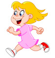 little girl running vector image