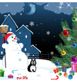snowman and lonely cat vector image