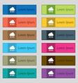 cloud rain icon sign Set of twelve rectangular vector image
