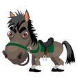 Dark sly stallion cartoon funny character vector image
