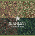 camouflages seamless patterns set vector image